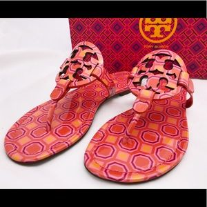 Tory Burch Miller Sandals Coral Pink 7 7.5 8 8.5